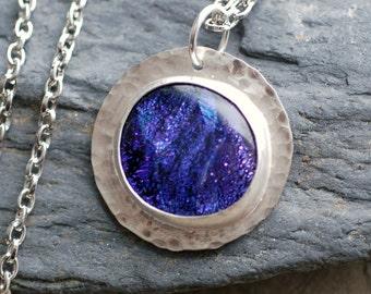 Glass Metal Pendant Necklace Dichro Cab Bezel Set German Silver Purple