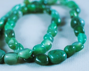 Green Agate Nuggets, 15mm, 30 inch strand
