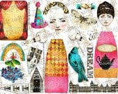 ART TEA LiFE Dream Journey People Paper Dolls and Journal Parts Set of 2 Collage Sheets digital file printable download decoupage scrapbook