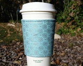 Coffee cozies / fabric coffee cozy / coffee sleeve / coffee cup holder -- Silver snowflakes on light blue