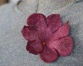 Merlot Felt Flower Brooch