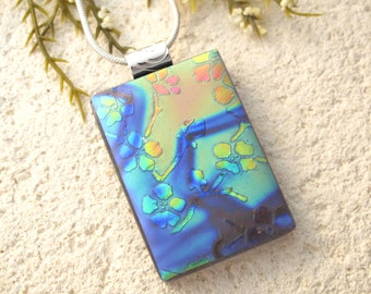 Blue Gold Necklace, Cherry Blossom Necklace, Silver, Necklace, Fused Glass Jewelry, Dichroic Jewelry, Pendant, Dichroic Pendant, 101014p100