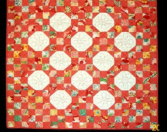 Pattern Only: Snowball 9 Patch Child's Crib Quilt 54X54 PDF  Suitable for beginners and beyond