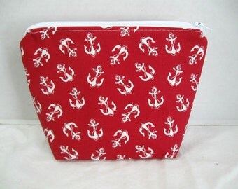 Nautical Cosmetic Pouch Red Anchors Flat Bottom Zippered Pouch