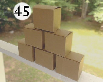 45 Cardboard Boxes, Recylced Box for craft & storage use, used Boxes for lightweight goods, one piece box, brown kraft gift boxes, favor box