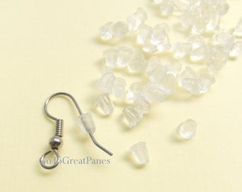 288 Soft SMALL Clear Plastic Earring Backs -- plastic stops, clutches, nuts, French hook backs, stoppers, metal free