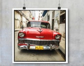 Vintage Car Photography - Old Red American Car in Havana Cuba 22x22 15x15 12x12 square Fine Art Photo big print poster wall art home decor