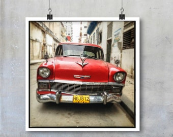 Vintage Retro Car Print Old American Car in Havana Cuba square Fine Art Photo big print poster wall art home decor travel photography