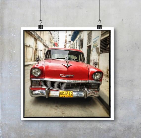 Vintage Retro Car Print Old American Car in Havana Cuba square Fine Art Photo big print poster wall art home decor travel photography