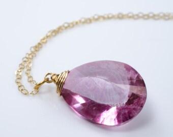 Pink Faceted Quartz Teardrop Briolette Gold Necklace