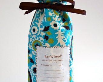 Re-Wined Traveling Wine Wrap, Wine Bag, Fabric Tote - Style G