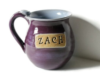 Personalized Mug  Made to Order, Stamped with a name of your choice, Two Color Choice