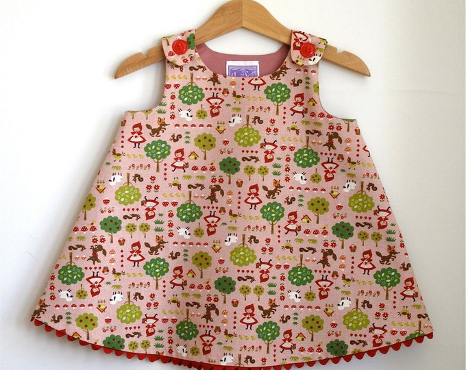 Girls Little Red Riding Hood Dress, Toddler Dress, Girls Dress with Wolf & Woodland Animals, Fairy Tale Dress, Sizes Newborn to  Girls 4T