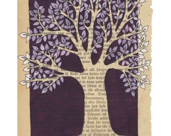 Purple tree - A4 size art print -  mixed media artwork on bookpage - sepia tree with white and purple leaves