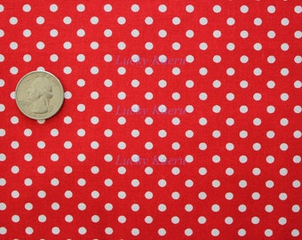 David Textiles, Dots, White Dots on Red Fabric - Half Yard