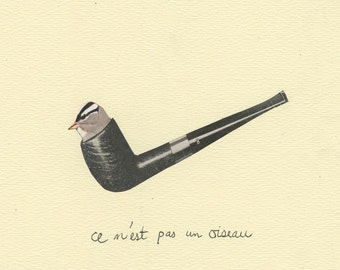 ce n'est pas un oiseau. Limited edition print of an original collage by Vivienne Strauss.