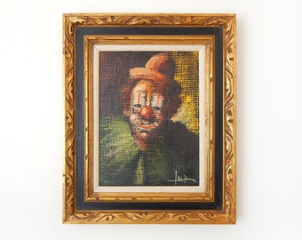 Vintage 50s Luca Clown Painting Framed Oil on Canvas - Dark Moody Expressionist Original Mid Century Clown Art - 16 x 20