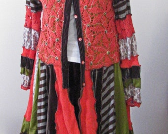 Upcycled Recycled Crochet Beaded Altered Couture Sweater Coat