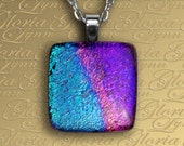 Dichroic Fused Glass Pendant, Fused Glass Jewelry, Dichroic Pendant, Fused Glass Pendant - Rainbow Delight - B170