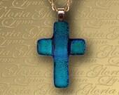 Fused Dichroic Glass Cross Pendant - Blue Green Dichroic Pendant - T82