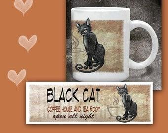 CAT MUG. Black Cat Coffee House and Tea Room. Cat Coffee Mug