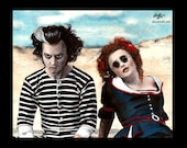 "Print 8x10"" - Sweeney Todd and Mrs. Lovett - Tim Burton Johnny Depp Helena Bonham Carter Pop Art Halloween Horror Demon Barber London Pop"