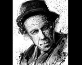 "Print 8x10"" - Tom Waits - Portrait Blues Rock Jazz Experimental Piano Smoking Drinking Pop Art Beatnik Vintage Poetry Drunk Bukowski Lowbrow"