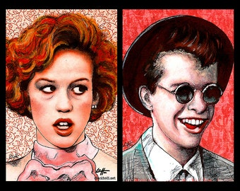 """Prints 11x17"""" -  Andie Walsh and Duckie Dale - Molly Ringwald John Hughes 80s The Breakfast Club 16 Candles Vintage Pop Art Pretty in Pink"""
