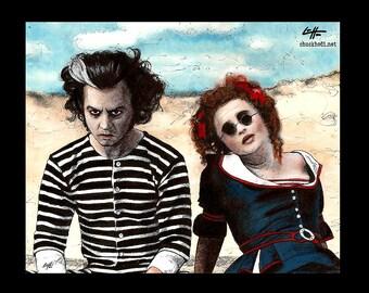 "Print 8x10"" - Sweeney Todd and Mrs. Lovett - Tim Burton Johnny Depp Helena Bonham Carter Pop Art Halloween Horror Demon Barber London Pop"