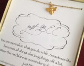 Vermeil Bee Just Be Yoga Spiritual Meditation Necklace Ready to Ship Gift