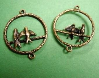 8pc antique copper round bird connector-2796X2