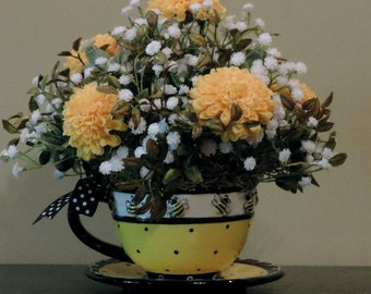 Bumble Bee Cup And Saucer Silk Floral Arrangementbumble Beesyellow Foral Arrangement