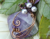 Wire Wrapped Banded Amethyst Quartz and Crystal Pearl Pendant Wrapped in Antiqued Copper Wire