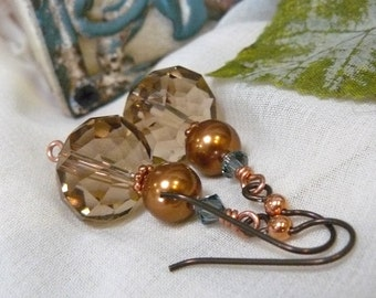 Copper Swarovski Earrings ~ Swarovski Pearl Earrings ~ Crystal Earrings ~ Earth Tone Earrings ~ Champagne Crystal Earrings ~Swarovski Pearls