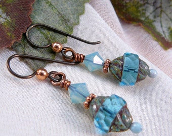 Aqua and Copper Drop Earrings ~ Aqua Bead Dangle Earrings ~ Pacific Opal Earrings ~ Aqua Swarovski Crystal Earrings ~ Copper Dangle Earrings