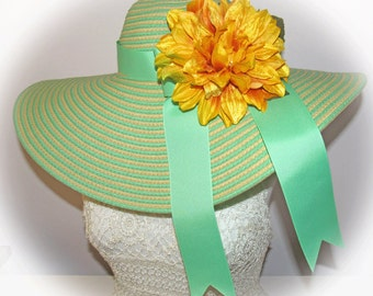 Monogrammed & Personalized Mint Lime Green and Natural Stripe Floppy Hat Wide Brimmed Wedding, Bridesmaid, Sun, Beach, Carolina Cup