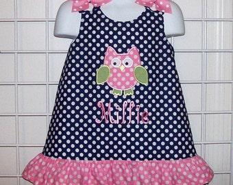 Navy Blue Polka Dot OWL Applique Mongrammed Dress with Pink Dot Ruffle - Owl birthday party dress - baby shower gift dress