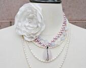 Faceted Rose Quartz Pendant Necklace, Violet Freshwater Pearls, Violet Quartz, Oxidized, Wire Wrapped, Vintage Inspired Wedding
