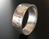 """5/8"""" Wide Hammered Sterling Ring"""