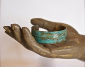 """Synclastic Copper Cuff 1"""" x 6"""" with Floral Impression with Turquoise Patina"""