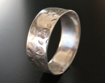 """3/8"""" Wide Hammered Sterling Ring"""