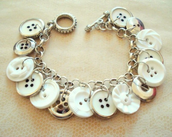 Vintage Multi Button Charm Bracelet,Reversible