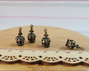 10 pcs Antique Brass Tiny Crown Charms pendant