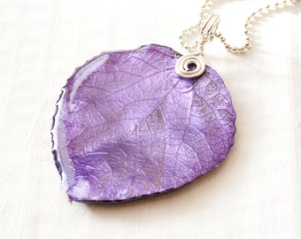 Purple Amythest Aspen Leaf Necklace, Bridesmaid Jewelry, Nature Jewelry