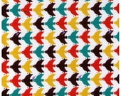 CLEARANCE 1/2 YARD - Cosmo Textiles, Japanese, Birds, Berries, Dobby Fabric, Orange, Mustard, Teal