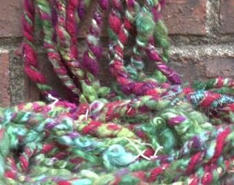 Handspun Art Yarn- RoseBush - Signature WildPlied Artisan Yarn