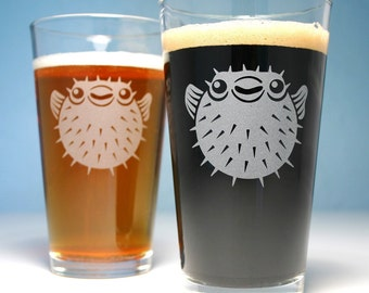 2 Puffer Fish Etched Pint Glasses - nautical beer gift