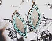 LEIGH turquoise beaded leaf earrings