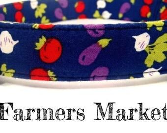 "LAST ONES - Blue Tomato Eggplant Turnip Veggie Dog Collar - Organic Cotton - Antique Brass Hardware - ""Farmers Market"""