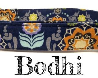 "LAST ONES Navy Blue Bohemian Floral Dog Collar - Organic Cotton - Antique Brass Hardware - ""Bodhi"""